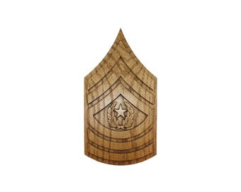 ARMY CSM Rank Plaque E9 Command Sergeant Major Carved Wall Wooden Military Army Promotion Retirement Gift