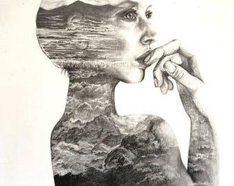 ORIGINAL Pencil drawing -  Double exposure Girl & Mountain