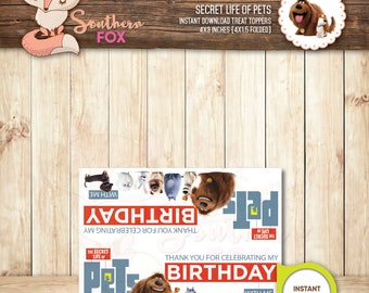 The Secret Life of Pets Treat Bag Toppers-Instant Download 4x3 (4x1.5 folded) - Secret Life of Pets Birthday Treat Bag Toppers