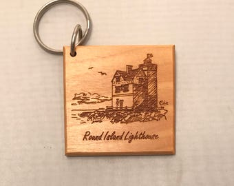 Round Island Lighthouse - Michigan Keychain - Etched on Wood
