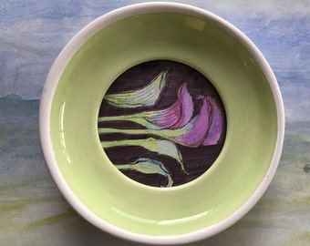 Purple Calla Lillies in a Sage Saucer Frame