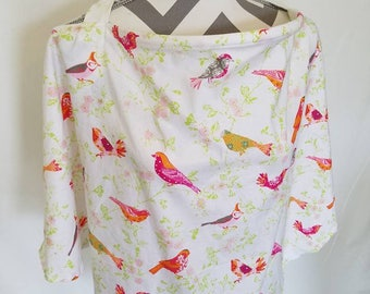 Pink birds Nursing cover