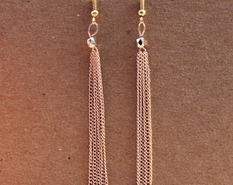 Rose Gold Chain Tassel Drop Hook Earrings