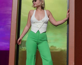 70s Green High Waisted Flares