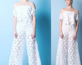 LUCIE lace Palazzo pants in White or Black