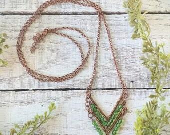 Chevron Necklace - Copper Green