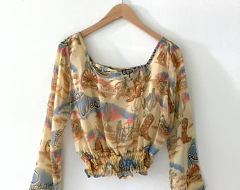 VTG Southwestern Bell Sleeve Blouse Top with Novelty Wild West Print S M