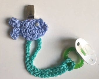 Baby Pacifier Clip - Crochet Fish Pacifier Clip