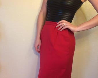 1950s vintage Pendleton wool red pencil skirt