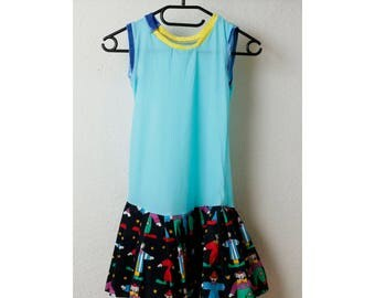 Children dress in light blue fabric
