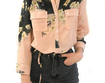 Women's Floral Half Button Placket Shirt Roll Up Sleeves Belted 100% cotton