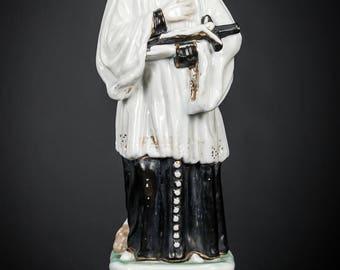 "11"" Saint Aloysius Gonzaga Antique Porcelain Figurine St Statue Patron Young Students Christian Youth Religious Figure 1"