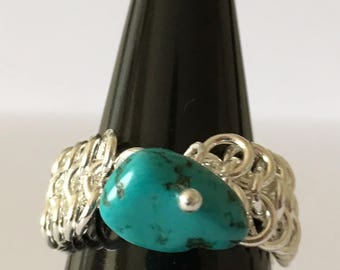 Chain Maille ring with Turquoise nugget ring