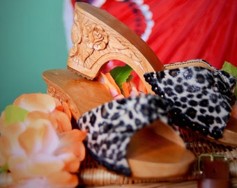 Hand carved wooden leopard print rose carving bakya shoes by Tiki-Lou Hawaii