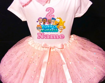Bubble Guppies***With NAME*** 2nd Second 2 Birthday Dress Fast Shipping party Shirt &  Pink Tutu outfit Personalized