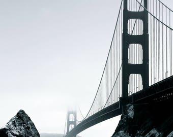 Golden Gate Bridge in Black and White, San Francisco, California, West Coast, Wall Art