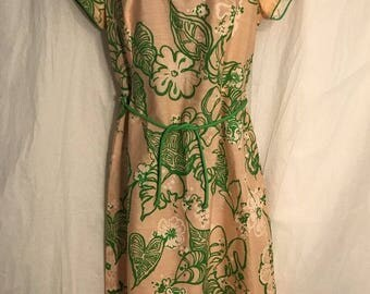 Vintage Burdines Florida Clubhouse  Peach Green Sheath Dress  Floral Tiger 50s 60s No size tag, see measurements.