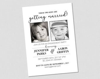 Engagement Party Invitation Black & White - These Two Kids Are Getting Married! - Printable
