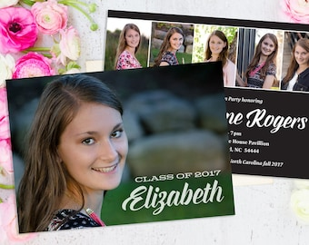 Graduation Invitation, Graduation Announcement, Custom Six Photo Party Invitation, Order Printable file or Printed Cards, 5x7 - 2 sides