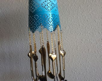 Blue lacey wind chime with heart and flower spoons