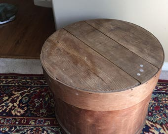 Rustic,Antique Wood Cheese Box With Lid