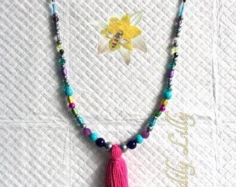 Multicoloured Tassel Necklace