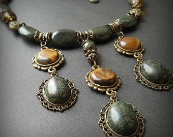 serpentine necklace dark green necklace tigereye necklace tigers eye choker natural stones collar tiger-eye beads green evening jewelry