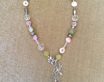Pink and green beaded necklace with front closure