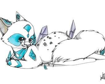 Cat Art Print / Cat Illustration / Animal Art / Animal Print / Digital Art
