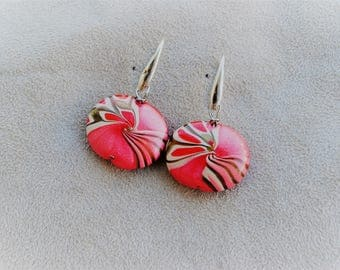 Handmade polymer clay earrings, unique piece