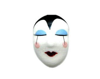 Vintage Hand Painted Ceramic MIME Face Brooch Pin