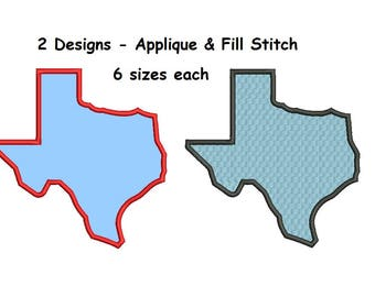 Texas Embroidery Design - Applique and Fill Designs - 2 designs 6 sizes INSTANT DOWNLOAD