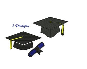 Graduation Cap Embroidery Design - 3,4,5,6 inch Size - Instant Download - Graduation Embroidery