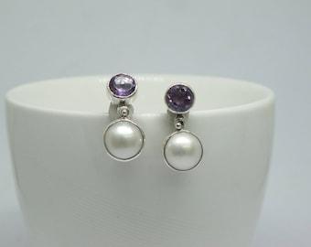 9*10 mm stud earrings mabe with genuine purple amethyst,pearl earrings, amethyst earrings