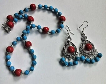 Turquoise and Red Howlite Choker and Earring set