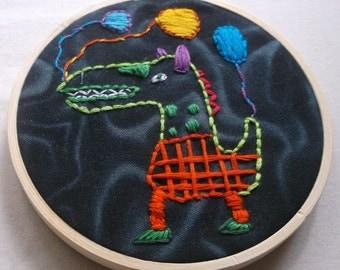 Embroidery handmade Dino