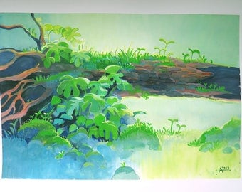 Green sprouts original gouache painting