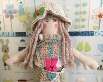 Handmade cloth doll, rag doll, fabric doll