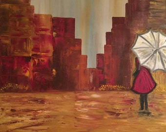 Women in the rain # oil # canvas