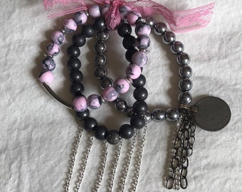 Pink and Silver Beaded Bracelet