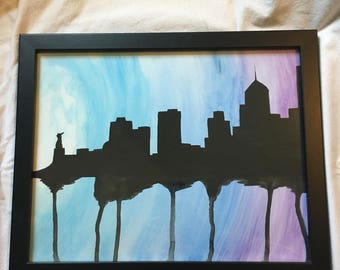 Watercolor Running City Skyline