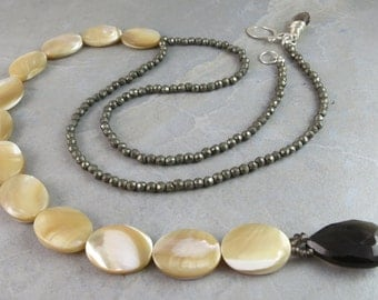 Mother Of Pearl, Smokey Quartz And Pyrite Necklace