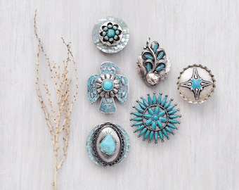 6 Southwestern Fridge Magnets - recycled jewelry bottle caps buttons - strong silver and turquoise refrigerator magnet set