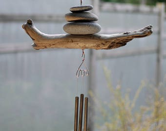 Wind Chime Natural Beach Stone Driftwood with Copper and Brass Handcrafted Chimes
