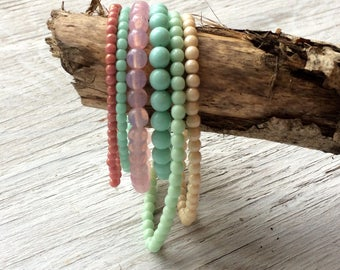 Glass Bead Strand Mix - 6 strands of Czech glass beads pastel- mint cream and pink (ST03)