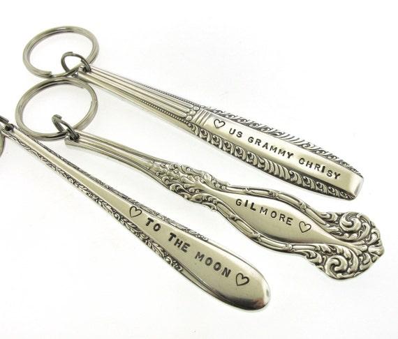 Custom Key Chain, Vintage Key Chain, Stamped Message on Vintage Silverplate Flatware, handstamped spoon handle keychain by Kathryn Riechert