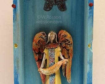 Hope, Angel, Shrine, Art, Mixed Media, Assemblage, Junk Art, Angel with Butterfly, Recycled,  Home Decor, Office Art, Gift, Winjimir, Art