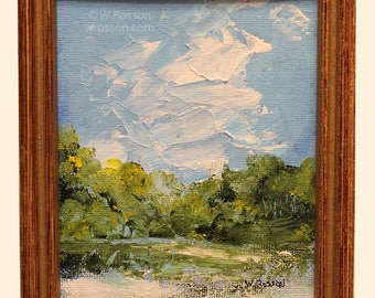 Small Landscape Painting, in Rescued Frame, Original Art, Original Painting, Office, Home Decor, Wall Art, Recycle, Painting, Winjimir, Tree