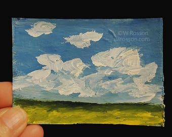 ACEO, Original Painting, Art Card, Landscape Painting, Small Art,  Winjimir, Home Decor, Office Art, Gift, Card, Blue Sky, Cloud Painting,