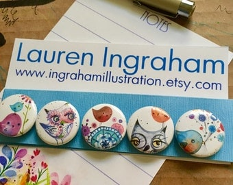 Magnets 5 cute owls and birds by Lauren Ingraham Illustration